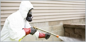 A pest control technician in protective clothing cleaning guano.